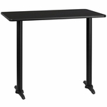 30'' x 48'' Rectangular Black Laminate Table Top with 5'' x 22'' Bar Height Bases [BFDH-3048BKREC-1BAR-TDR]