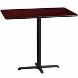 30'' x 48'' Rectangular Mahogany Laminate Table Top with 22'' x 30'' Bar Height Base [BFDH-3048MAHREC-3BAR-TDR]