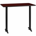 30'' x 48'' Rectangular Mahogany Laminate Table Top with 5'' x 22'' Bar Height Bases [BFDH-3048MAHREC-1BAR-TDR]