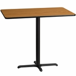 30'' x 48'' Rectangular Natural Laminate Table Top with 22'' x 30'' Bar Height Base [BFDH-3048NATREC-3BAR-TDR]