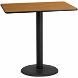 30'' x 48'' Rectangular Natural Laminate Table Top with 24'' Round Bar Height Base [BFDH-3048NATREC-7BAR-TDR]