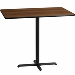 30'' x 48'' Rectangular Walnut Laminate Table Top with 22'' x 30'' Bar Height Base [BFDH-3048WALREC-3BAR-TDR]