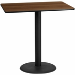 30'' x 48'' Rectangular Walnut Laminate Table Top with 24'' Round Bar Height Base [BFDH-3048WALREC-7BAR-TDR]