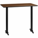 30'' x 48'' Rectangular Walnut Laminate Table Top with 5'' x 22'' Bar Height Bases [BFDH-3048WALREC-1BAR-TDR]