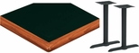 30'' x 60'' Laminate Table Top with Bullnose Wood Edge and 2 Bases - Standard Height [ATWB3060-T0522M-SAT]