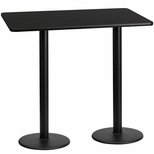 30'' x 60'' Rectangular Black Laminate Table Top with 18'' Round Bar Height Bases [BFDH-3060BKREC-6BAR-TDR]