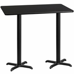 30'' x 60'' Rectangular Black Laminate Table Top with 22'' x 22'' Bar Height Bases [BFDH-3060BKREC-2BAR-TDR]