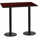 30'' x 60'' Rectangular Mahogany Laminate Table Top with 18'' Round Bar Height Bases [BFDH-3060MAHREC-6BAR-TDR]