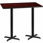 30'' x 60'' Rectangular Mahogany Laminate Table Top with 22'' x 22'' Bar Height Bases [BFDH-3060MAHREC-2BAR-TDR]