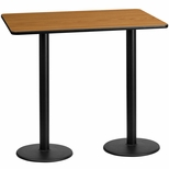 30'' x 60'' Rectangular Natural Laminate Table Top with 18'' Round Bar Height Bases [BFDH-3060NATREC-6BAR-TDR]