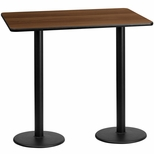 30'' x 60'' Rectangular Walnut Laminate Table Top with 18'' Round Bar Height Bases [BFDH-3060WALREC-6BAR-TDR]