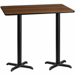 30'' x 60'' Rectangular Walnut Laminate Table Top with 22'' x 22'' Bar Height Bases [BFDH-3060WALREC-2BAR-TDR]