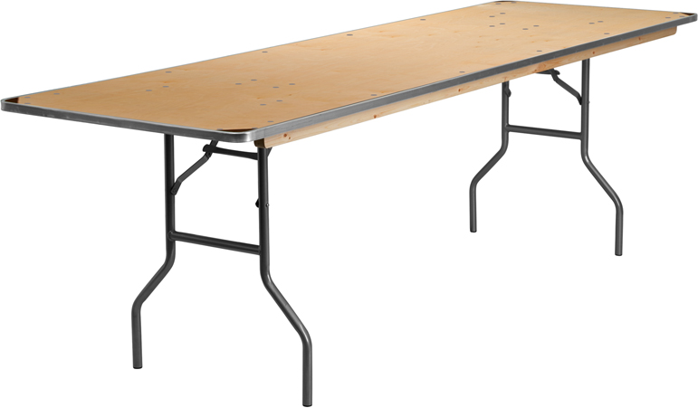 30 39 39 X 96 39 39 Rectangular Heavy Duty Birchwood Folding Banquet Table With Metal Edges And