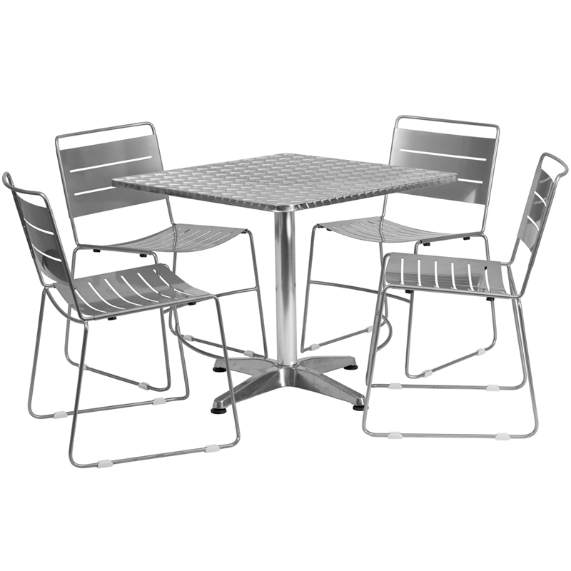 31 5 Square Aluminum Indoor Outdoor Table Set with 4