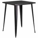 31.5'' Square Black-Antique Gold Metal Indoor-Outdoor Bar Height Table [CH-51040-40-BQ-GG]