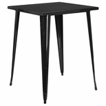 31.5'' Square Black Metal Indoor-Outdoor Bar Height Table [CH-51040-40-BK-GG]