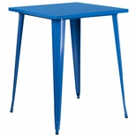 31.5'' Square Blue Metal Indoor-Outdoor Bar Height Table [CH-51040-40-BL-GG]