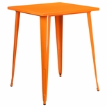31.5'' Square Bar Height Orange Metal Indoor-Outdoor Table [CH-51040-40-OR-GG]