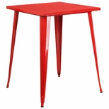 31.5'' Square Red Metal Indoor-Outdoor Bar Height Table [CH-51040-40-RED-GG]