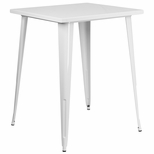 31.5'' Square White Metal Indoor-Outdoor Bar Height Table [CH-51040-40-WH-GG]