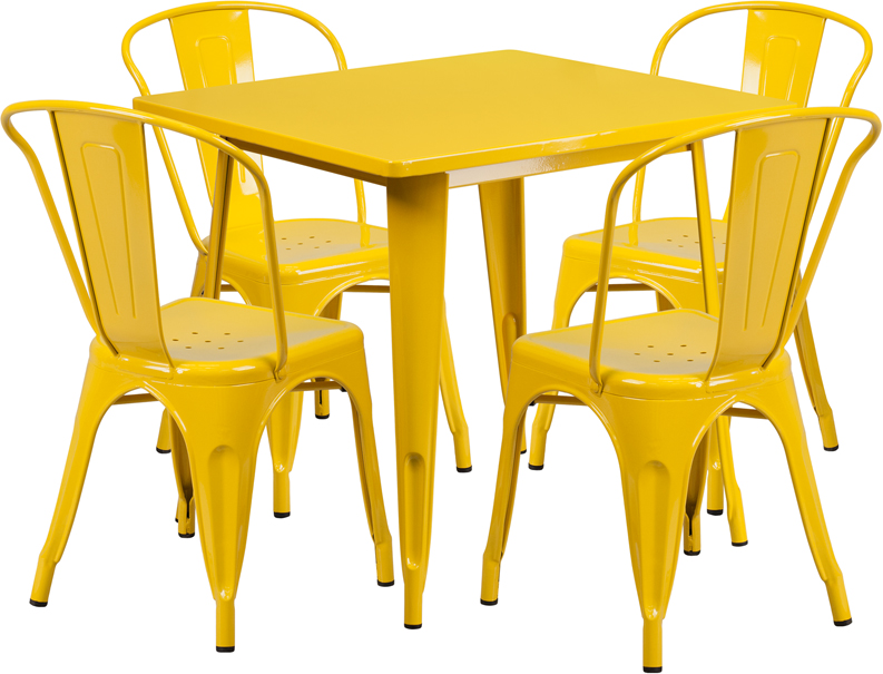 31.5\'\' Square Yellow Metal Indoor-Outdoor Table Set with 4 Stack ...