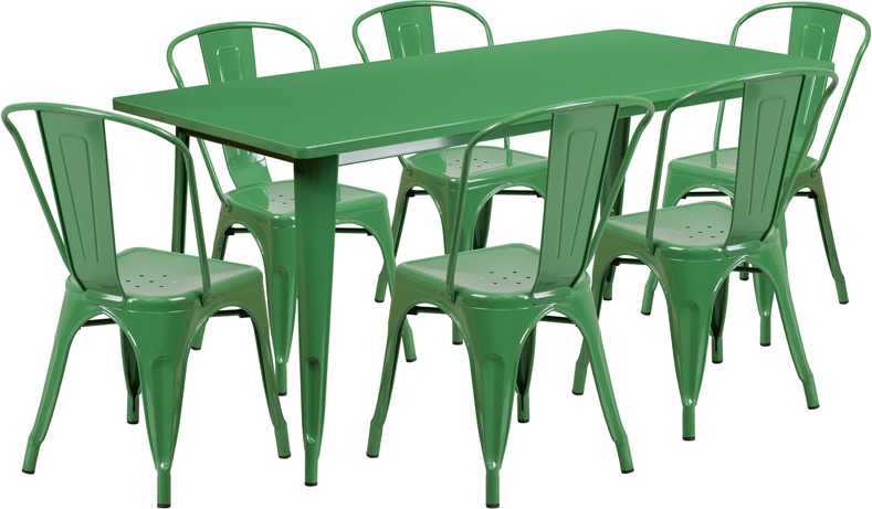 31.5\'\' x 63\'\' Rectangular Green Metal Indoor-Outdoor Table Set ...