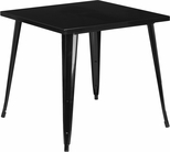31.75'' Square Black Metal Indoor-Outdoor Table [CH-51040-29-BK-GG]