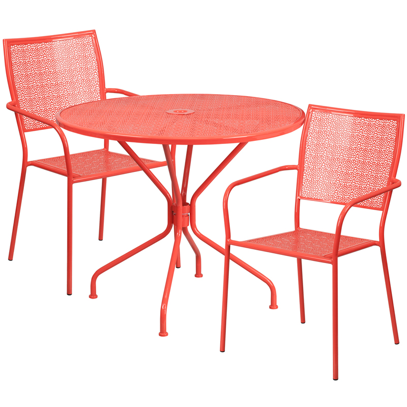 35.25\'\' Round Coral Indoor-Outdoor Steel Patio Table Set with 2 ...