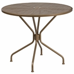 35.25'' Round Gold Indoor-Outdoor Steel Patio Table [CO-7-GD-GG]