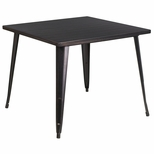 35.5'' Square Black-Antique Gold Metal Indoor-Outdoor Table [CH-51050-29-BQ-GG]