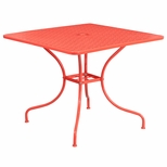 35.5'' Square Coral Indoor-Outdoor Steel Patio Table [CO-6-RED-GG]
