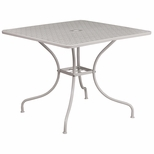 35.5'' Square Light Gray Indoor-Outdoor Steel Patio Table [CO-6-SIL-GG]