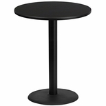 36'' Round Black Laminate Table Top with 24'' Round Bar Height Base [BFDH-36BKRD-7BAR-TDR]