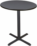 Cain 36'' Round Laminate Cafe Table with PVC Edge - Gray [TCB36RNDGY-FS-REG]