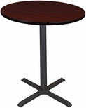 Cain 36'' Round Laminate Cafe Table with PVC Edge - Mahogany [TCB36RNDMH-FS-REG]