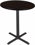 Cain 36'' Round Laminate Cafe Table with PVC Edge - Walnut [TCB36RNDMW-FS-REG]