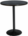 36'' Round Laminate Bistro Height Pedestal Table with Graphite Nebula Top - Black Round Base [T36RD-B1922-BK-GRN-38-IFK]