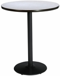 36'' Round Laminate Bistro Height Pedestal Table with Grey Nebula Top - Black Round Base [T36RD-B1922-BK-GYN-38-IFK]