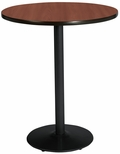 36'' Round Laminate Bistro Height Pedestal Table with Mahogany Top - Black Round Base [T36RD-B1922-BK-MH-38-IFK]