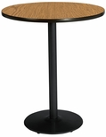 36'' Round Laminate Bistro Height Pedestal Table with Medium Oak Top - Black Round Base [T36RD-B1922-BK-MO-38-IFK]