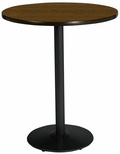 36'' Round Laminate Bistro Height Pedestal Table with Walnut Top - Black Round Base [T36RD-B1922-BK-WL-38-IFK]