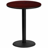 36'' Round Mahogany Laminate Table Top with 24'' Round Bar Height Base [BFDH-36MAHRD-7BAR-TDR]