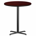 36'' Round Mahogany Laminate Table Top with 30'' x 30'' Bar Height Base [BFDH-36MAHRD-4BAR-TDR]