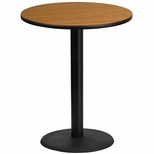 36'' Round Natural Laminate Table Top with 24'' Round Bar Height Base [BFDH-36NATRD-7BAR-TDR]