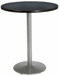 36'' Round Laminate Bistro Height Pedestal Table with Graphite Nebula Top - Silver Round Base [T36RD-B1922-SL-GRN-38-IFK]
