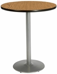 36'' Round Laminate Bistro Height Pedestal Table with Medium Oak Top - Silver Round Base [T36RD-B1922-SL-MO-38-IFK]