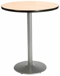 36'' Round Laminate Bistro Height Pedestal Table with Natural Top - Silver Round Base [T36RD-B1922-SL-NA-38-IFK]
