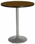 36'' Round Laminate Bistro Height Pedestal Table with Walnut Top - Silver Round Base [T36RD-B1922-SL-WL-38-IFK]