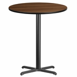 36'' Round Walnut Laminate Table Top with 30'' x 30'' Bar Height Base [BFDH-36WALRD-4BAR-TDR]