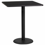 36'' Square Black Laminate Table Top with 24'' Round Bar Height Base [BFDH-3636BKSQ-7BAR-TDR]